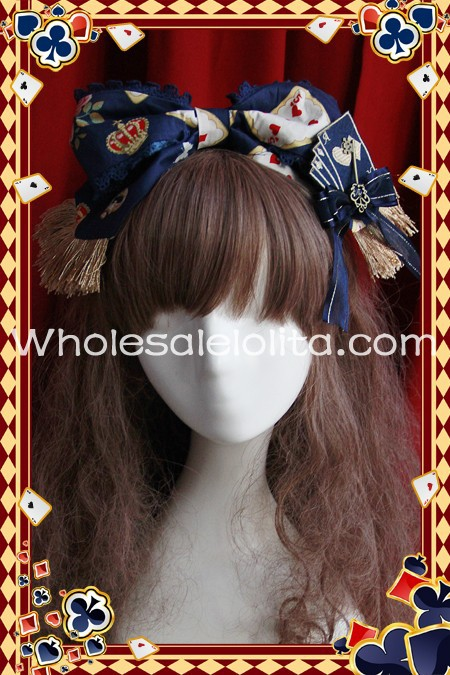 Deep Blue Playing Card Printing Lolita Headdress KC Head Wear