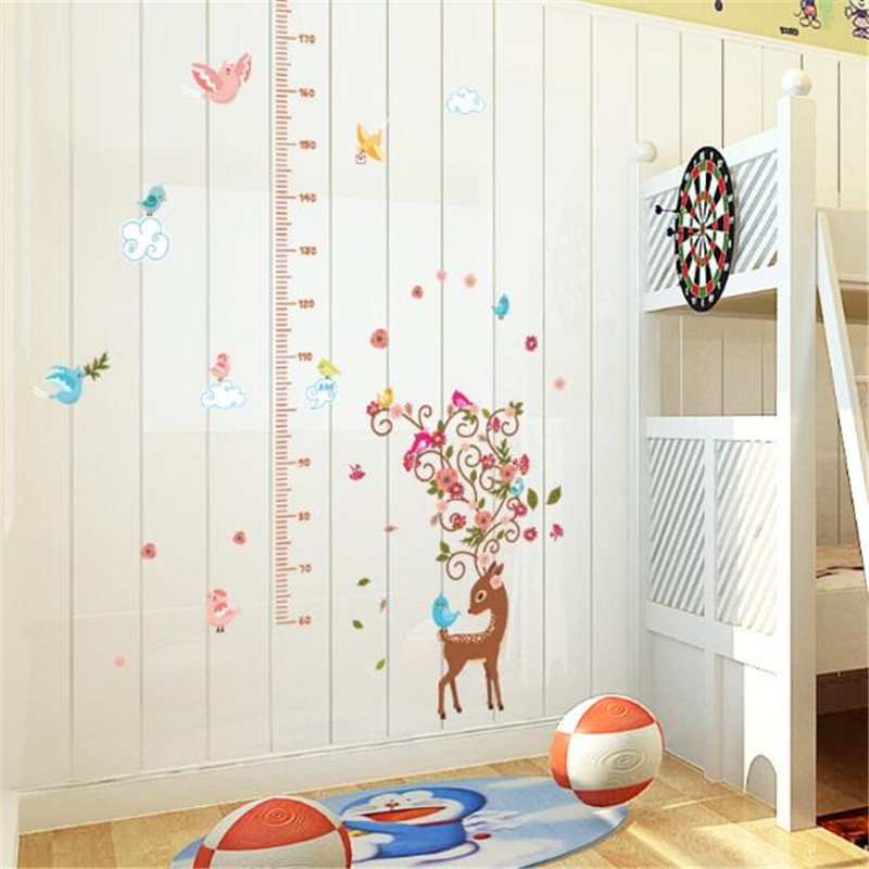 1 PCS Cartoon Bird Sika Deer Height Sticker For Kids Room Bedroom Height Meter Wall Stickers Home Decor 50 70cm in Wall Stickers from Home Garden