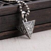 Silverware S925 Sterling Silver Four Animal Pyramid Necklace Pendant Retro Thai Silver Men Pendant