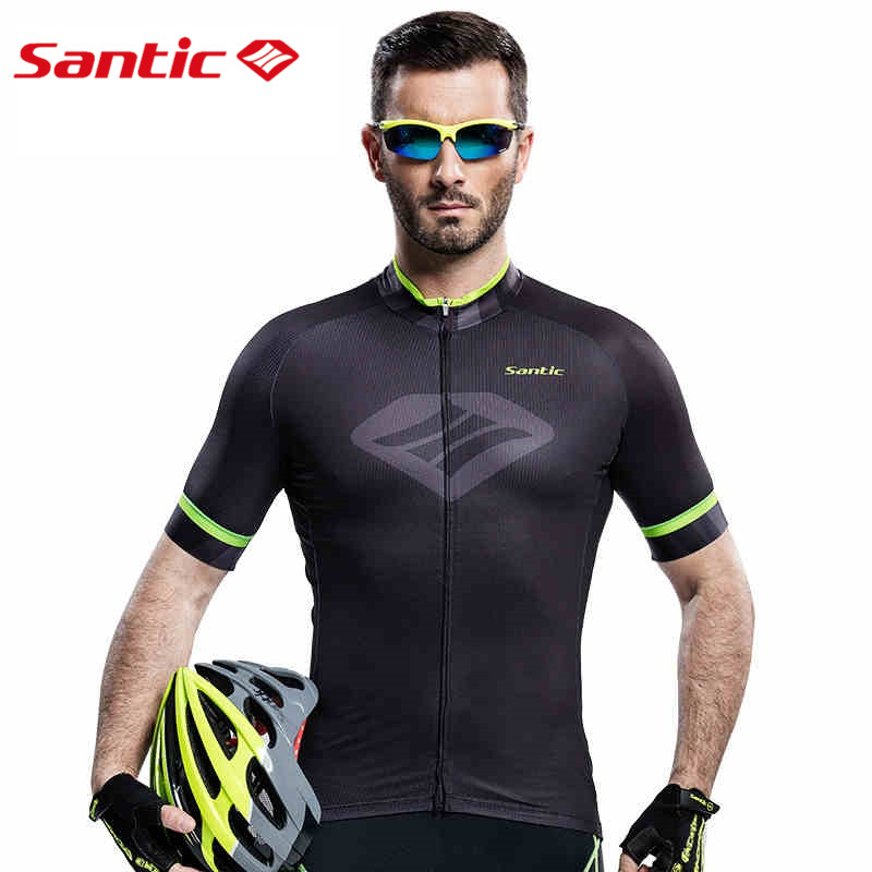 Santic Men Black Cycling  Jerseys Santic Outdoor Sportswear BicycleFast Dry MTB Road Bike UV-proof Jersey M6C02088H santic men s cycling hooded jerseys rainproof waterproof bicycle bike rain coat raincoat with removable hat for outdoor riding