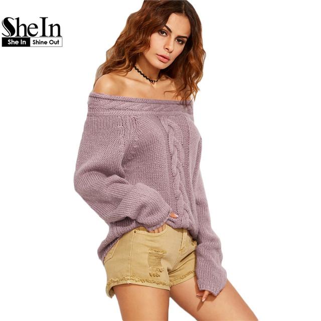 SheIn Mulheres Cabo Malha Pulôver Blusas Casuais Senhoras Outono Roxo Manga Longa Fora Do Ombro Camisola de Grandes Dimensões