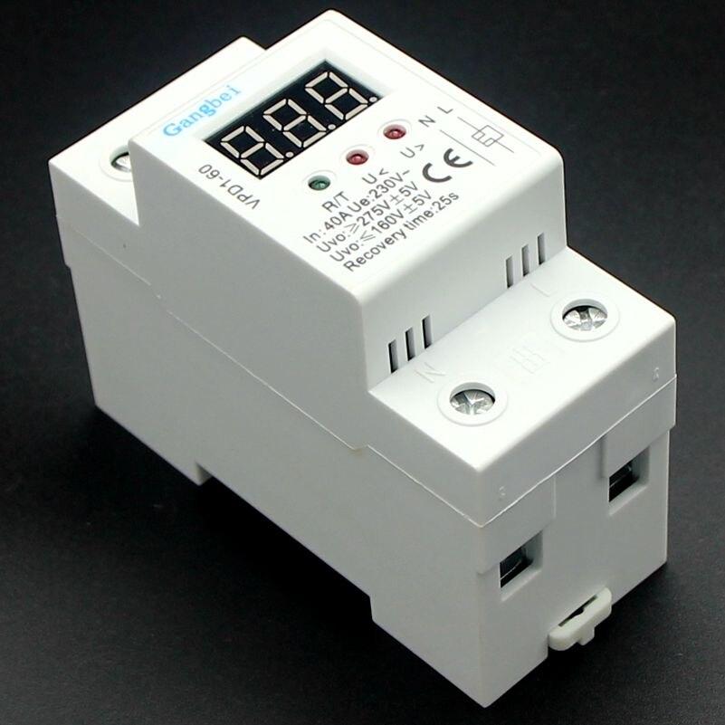 2 P 40A 220 V automatische verbinden überspannung und unter spannung schutz gerät relais mit Voltmeter spannung monitor