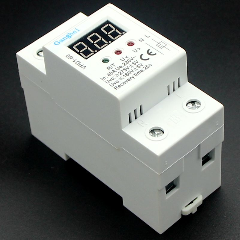 2P 40A 220V automatic reconnect over voltage and under voltage protection protective device relay with Voltmeter voltage monitor2P 40A 220V automatic reconnect over voltage and under voltage protection protective device relay with Voltmeter voltage monitor