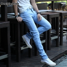 цены 2017 summer Men Jeans Pencil Pants Stretch Jeans Men Brand Casual Slim Fit Pants Skinny Boys Male Denim Biker Man