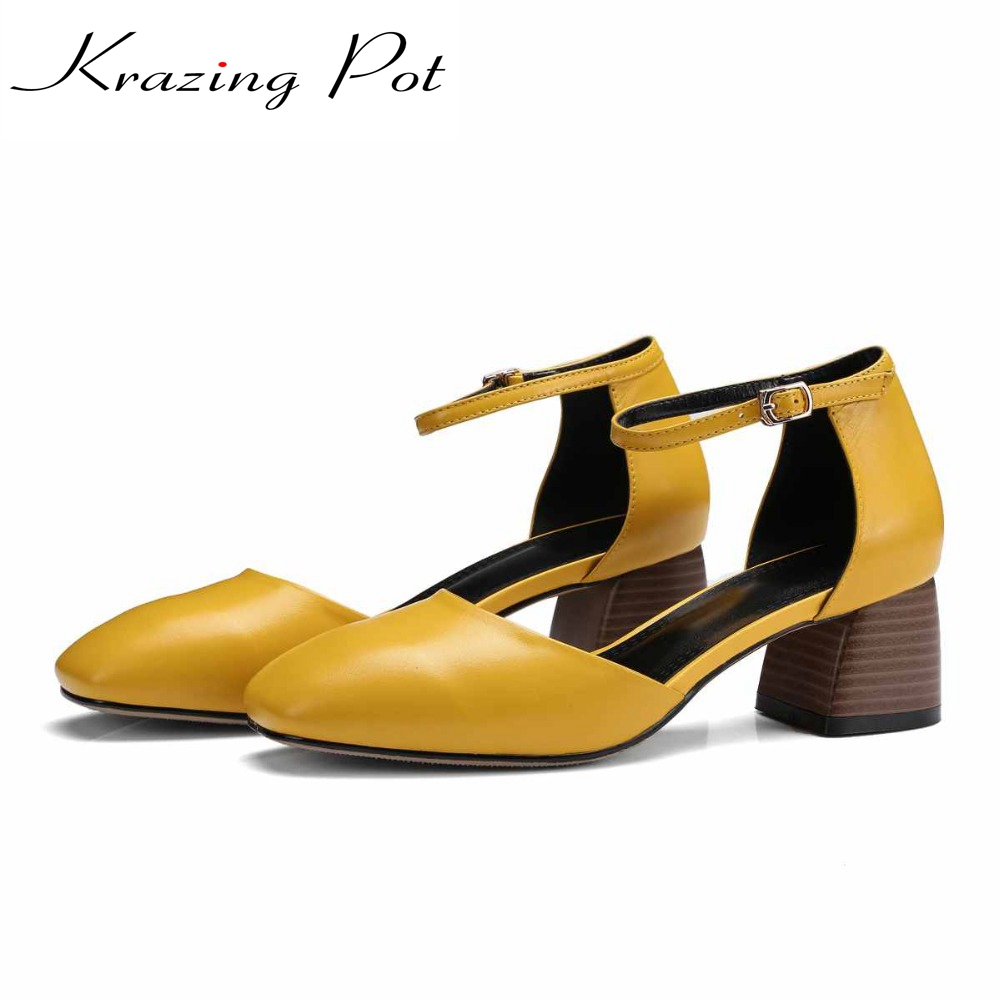 Подробнее о 2017 Krazing Pot new fashion summer colorful shoes soft genuine leather square toe preppy style med heels buckle women pumps L99 krazing pot new fashion brand gold shoes patent leather square toe preppy style med heels buckle women pumps mary jane shoes 90
