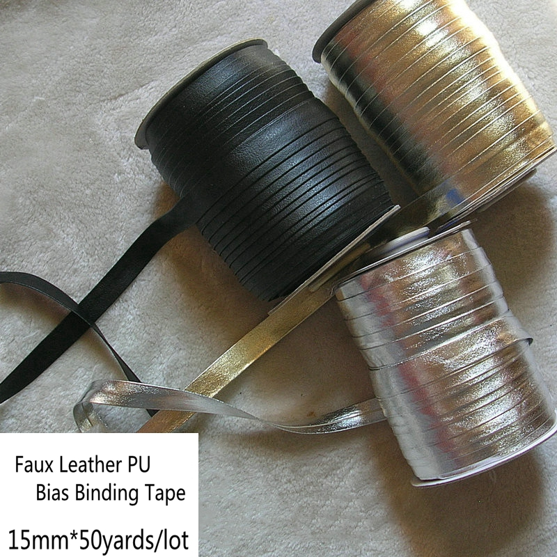 15mm Faux Leather PU Bias Binding Tape Gold Silver
