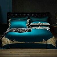Новый 1000TC Египетский хлопок Королевский роскошный комплект постельного белья King queen размер Вышивка Комплект постельного белья пододеяльни