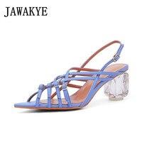 Vintage Violet Buckled Strappy Sandals Elegant Crystal Kitten Heel Pointed Toe Bohemian Shoes Summer Women 2019
