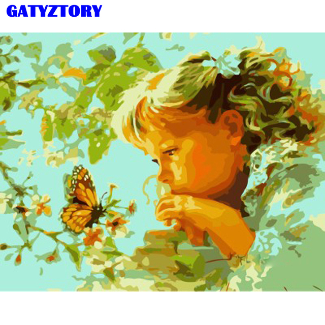 GATYZTORY No Frame Girls DIY Painting By Numbers Modern Wall Art Painting Acrylic Paint On Canvas For Home Decor 40x50cm Artwork