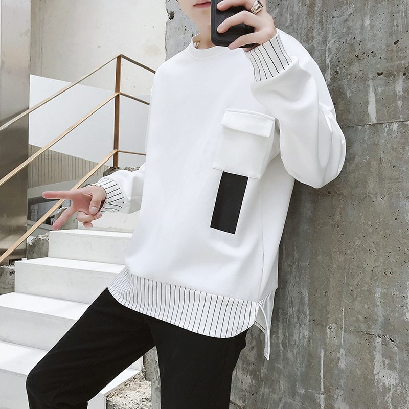 2019 the spring and autumn period and the new fleece adolescent leisure fashion sets men round collar 39
