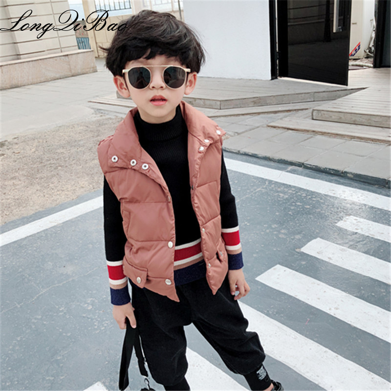 Children's winter clothes baby cotton vest thickening autumn and winter boys Korean version of the pure color vest vest in the b