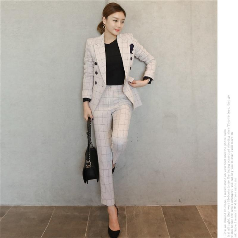 Fashion Plaid Suit Female Business Suit Fashion Suit Female Career Suit Jacket And Long Sections Temperament Casual Two-piece