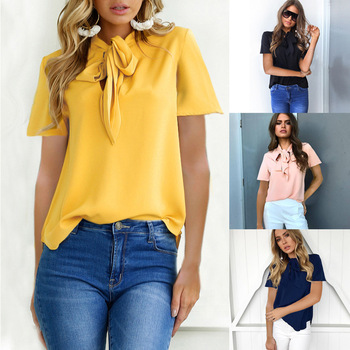 Women Flare Sleeve Chiffon Blouse