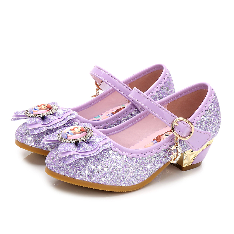 Fashion Kids princess shoes girls low heeled elsa leather shoes loafers Children party pettigirl enfants baby girls dress shoes
