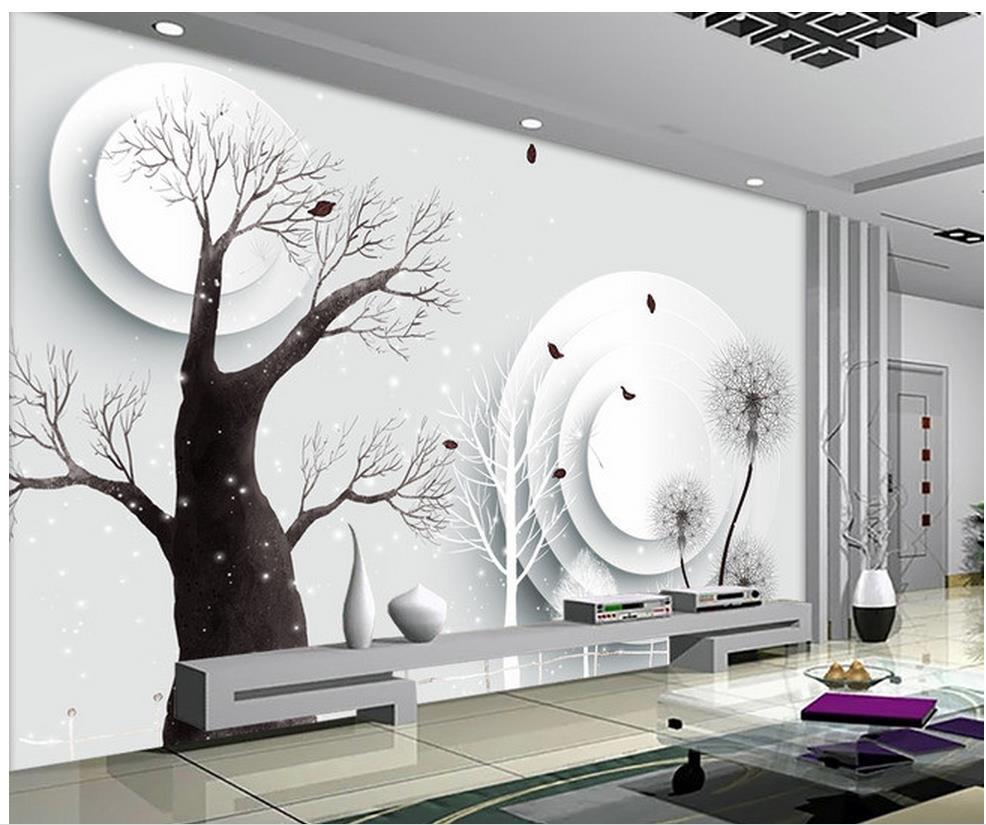 3d wall murals wallpaper Abstract tree 3D TV backdrop modern living ...