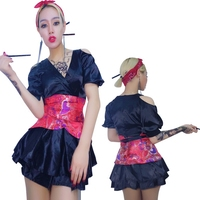 New Sexy Female Singer Outfit Red Shiny Jazz Dance Wear Dj Nightclub Dress Costume Women Stage Costumes For Singers Dance