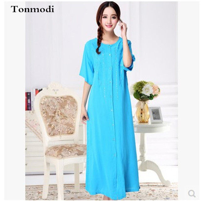 2016 New Long Nightgowns Summer Super Soft Washed Cotton Long Night Dresses Ladies nightshirt