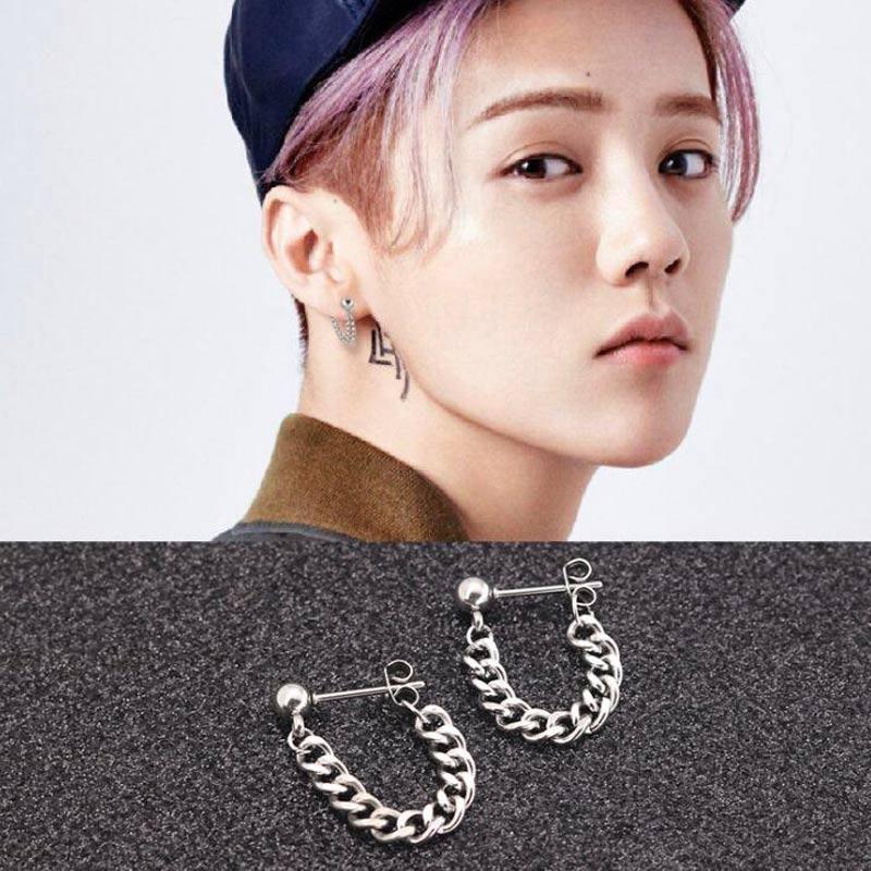 2 pieces Black Silver Punk Rock Post Stainless Steel Chain Stud Earring Men Piercing Korea Jewelry