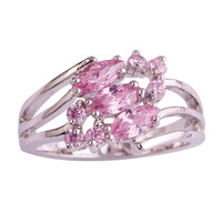 lingmei New Arrival Sweet Lady Marquise Pink Topaz 925 Silver Ring Pink Jewelry For Women Rings Size 6 Free Shipping Wholesale
