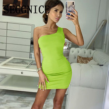 SEGGNICE New Womens Dresses Sexy Summer One Shoulder Backless Dress Slim Mini Short Cotton Party 2019