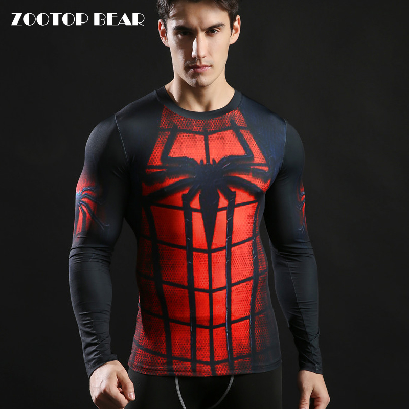 Spiderman Tops Printed 3D Tee Men Compression Fitness T shirt 2017 Novelty Casual Male Round Neck Long Sleeve Tshirt ZOOTOP BEAR