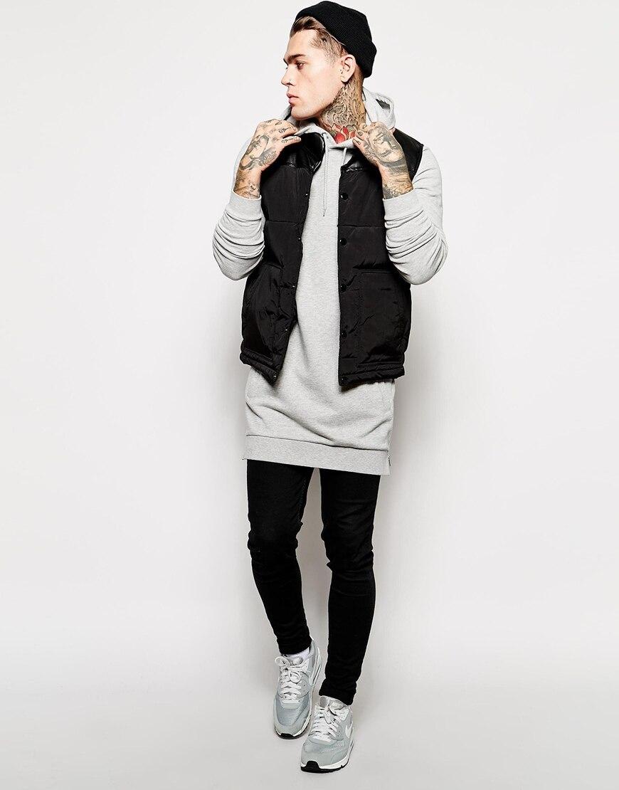 9bf11ee6 Men's fleece hoodies sweatshirts side zip to hem design long sweat ...