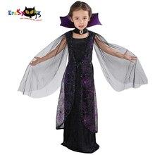 Eraspooky 2018 Mor Örümcek Vampir Cosplay Kız Cadılar Bayramı kostüm çocuklar için Dantel Pelerin uzun elbise Karnaval Parti Kraliçe Yaka