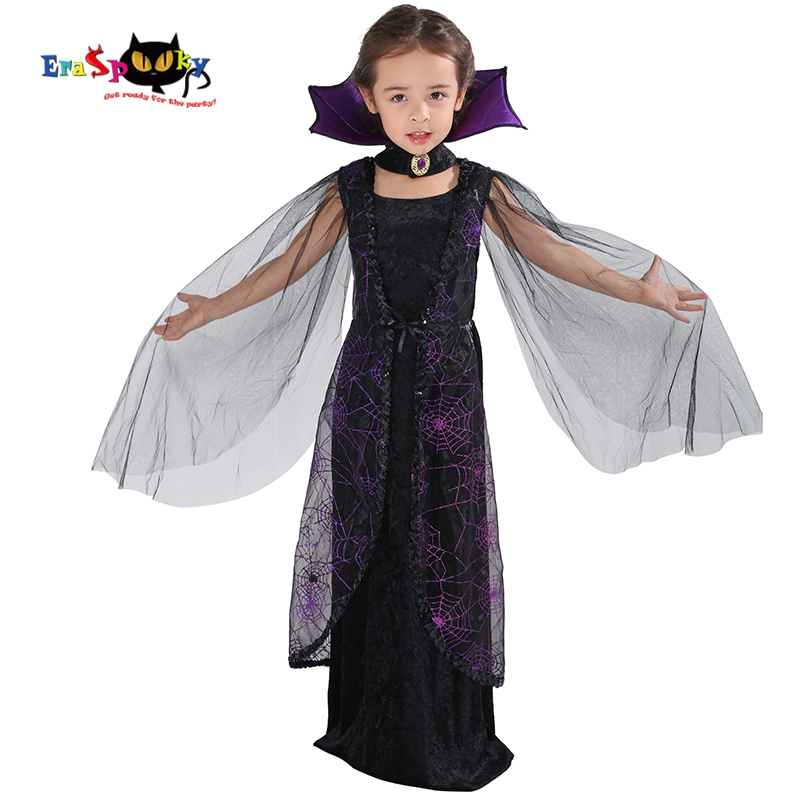 Eraspooky 2018 Purple Spider Vampire Cosplay Girls Halloween Costume For Kids Lace Cape Long Dress Carnival Party Queen Collar
