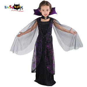 Image 1 - Eraspooky 2018 Purple Spider Vampire Cosplay Girls Halloween costume for kids Lace Cape Long Dress Carnival Party Queen Collar