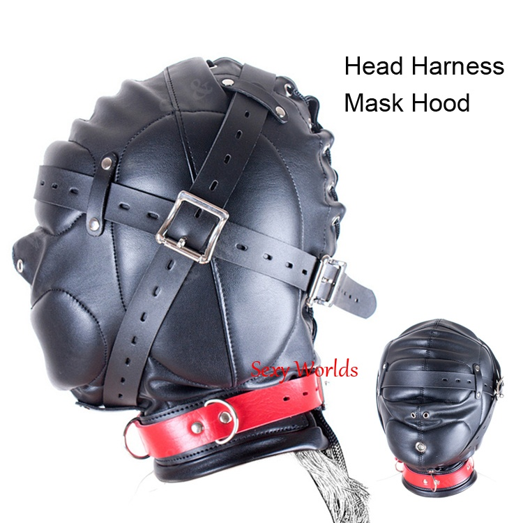 Fantasy PU Leather Head Harness Bondage Hood Mask Sex Toys For Couples Fetish Adult Games Cosplay Horse Mask adult games sexy fetish latex headhood rubber head masker met mond condoom sex product for lover