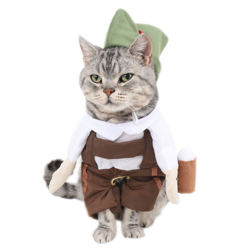 Pet Products Home & Garden Amicable Barman Beer Waiter Cat Costume With Hat Cosplay Suit For Pets Funny Cat Clothes Clothing Halloween Costume Vetement Chat S-xl Pleasant To The Palate