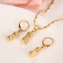 Gold Dubai India peanut vintage dangle Earrings Necklace Jewelry Sets for Women Girls party jewellery bridal accessories kids