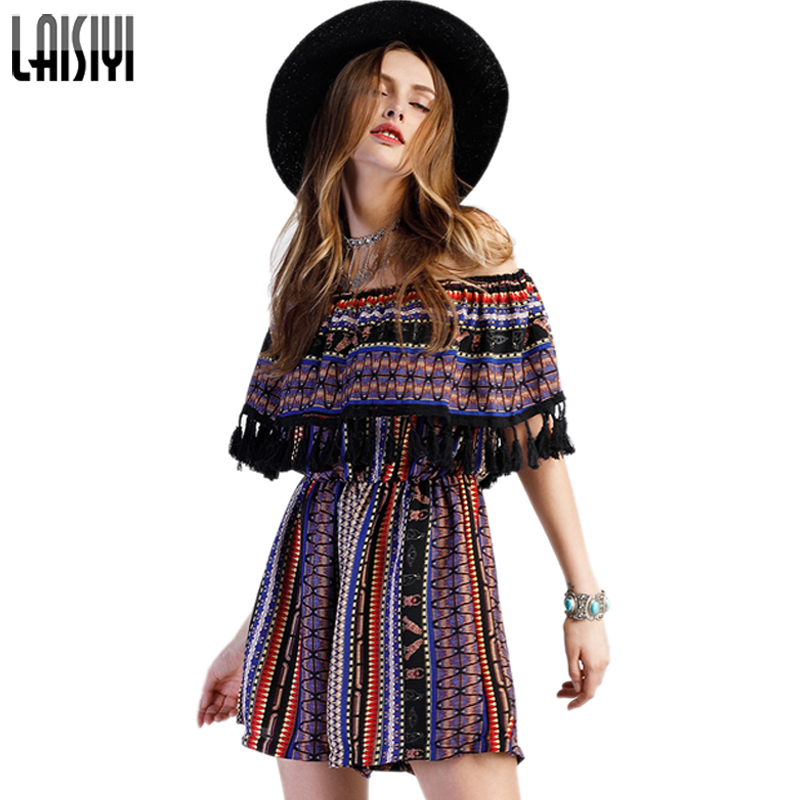 LAISIYI Sexy Off Shoulder Beach Playsuit Spring Summer Tassel Jumpsuit Romper Women Ruffle Short Playsuits Overalls ASJU50117 ...