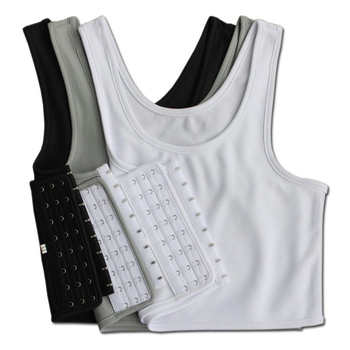 Les Lesbian Casual Breathable Buckle Short Chest Breast Binder Trans Vest Tops Plus Size S-4XL 5XL