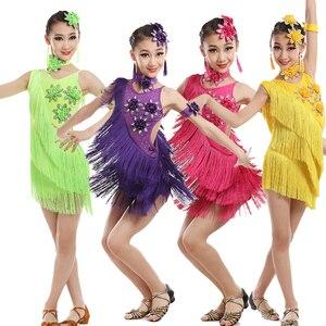 Image 3 - Vestido de competición con borlas y lentejuelas para niños, baile latino, práctica de gimnasia, fiesta de baile, escenario