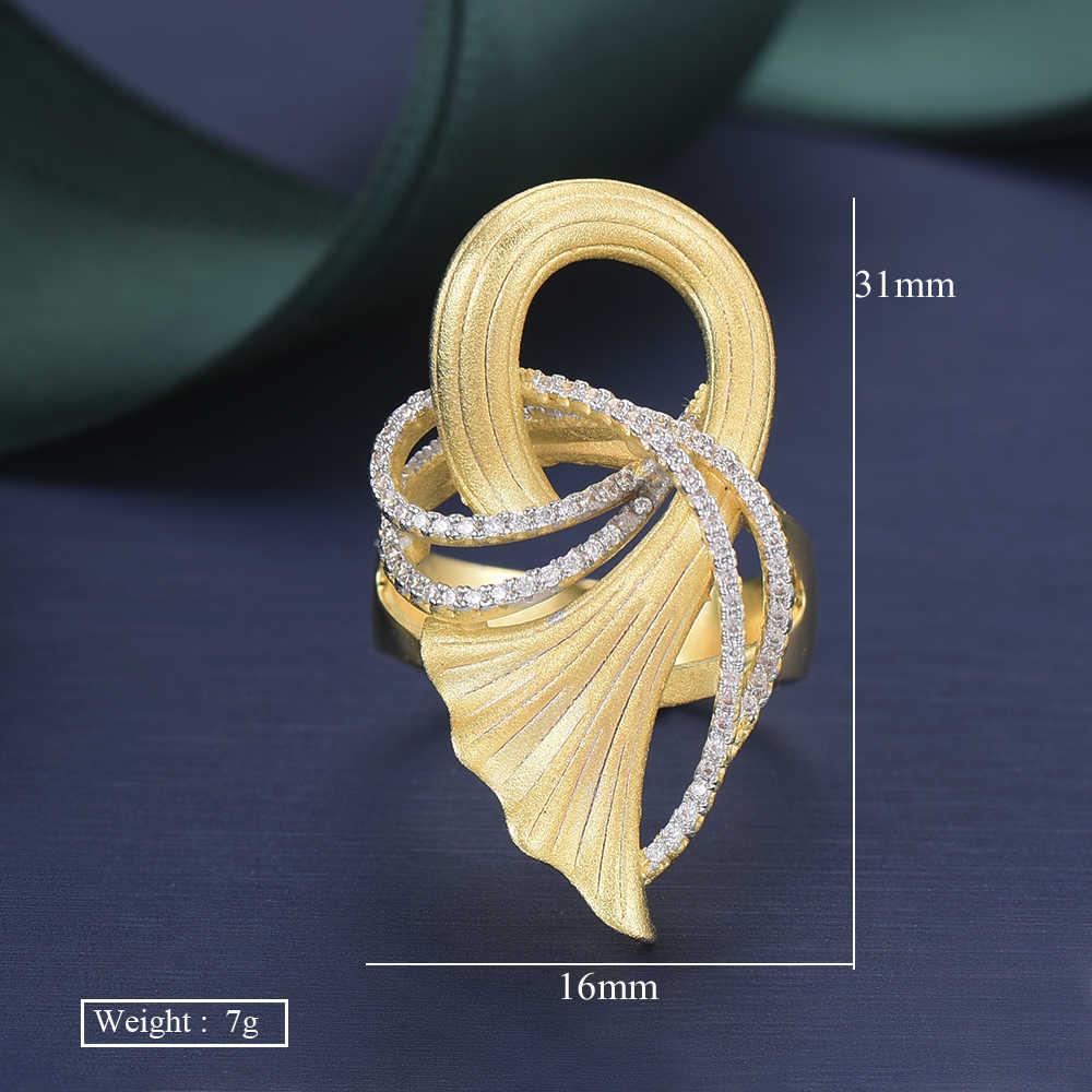 GODKI หรูหราใหม่ Ginkgo Leaf CZ Cubic Zircon CZ แหวนสำหรับเจ้าสาวงานแต่งงานดูไบ Gold แหวน