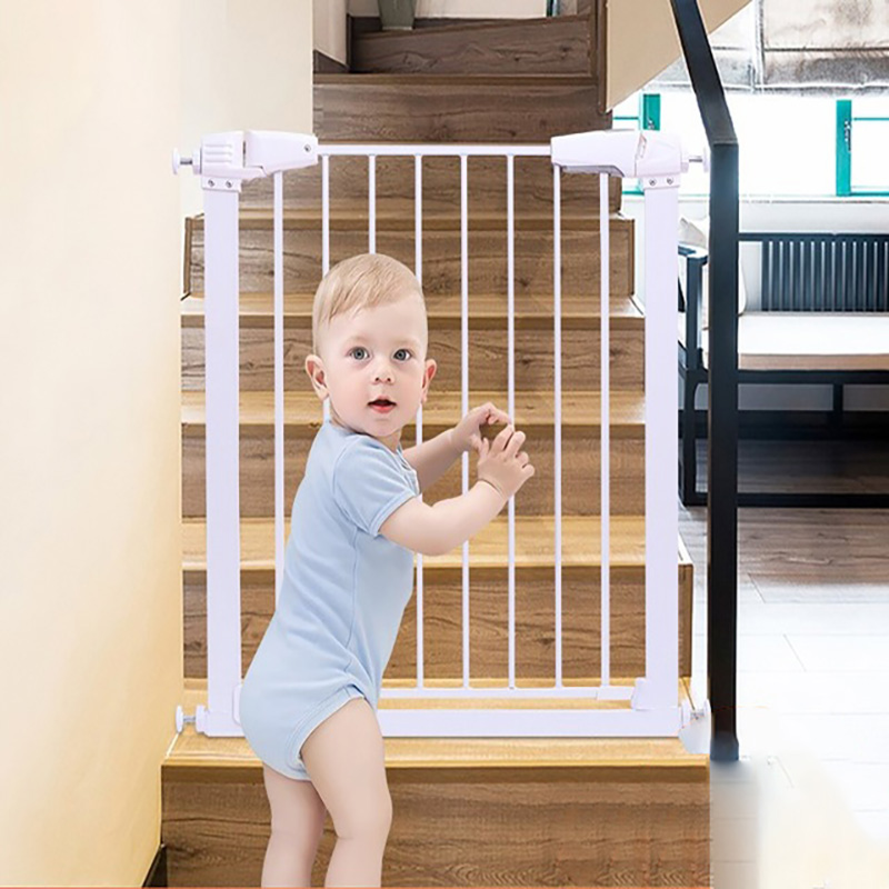 75~104 Cm Width Child Gate Hole-digging Baby Gate Stair Fence Pet Fence Dog Railing With 2 Extensions Free Installation