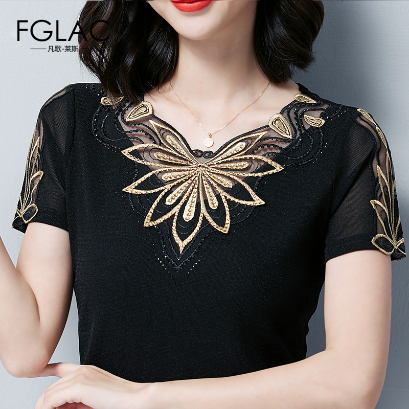 blouse     shirt   New Arrivals 2019 Summer short sleeve mesh tops Elegant Slim hollow out Embroidered   blouse   women tops blusas