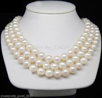 NEW 3ROW Fine 9 10mm AAA white Natural freshwater pearls pearl necklaces 925 Sterling Silver Clasp