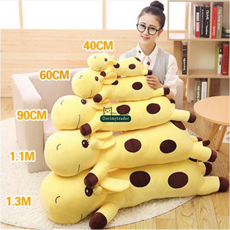 Dorimytrader 130cm Large Lovely Soft Animal Giraffe Plush Pillow 51 Giant Stuffed Cartoon Giraffes Toy Baby