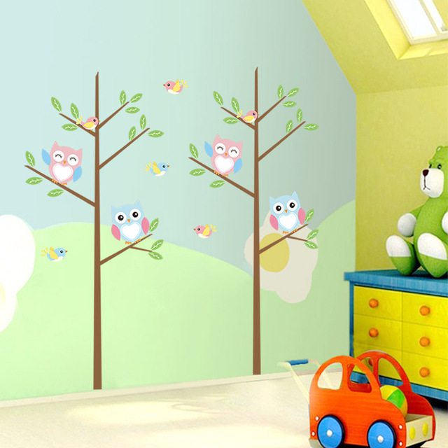 Owls Tree Wall Decal Sticker Kids Room Nursery Wall Art Mural Decor Poster  Animals Tree Home