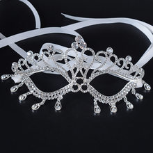 Luxury Elegant Diamond Rhinestone Mask Masquerade Party Crown Alloy Silver  Wedding Ball Costume Masks af7ca8a6baa5