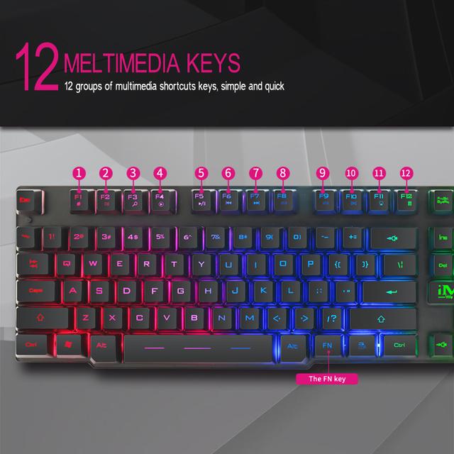 iMice Gaming Keyboard 104 Keycaps Backlit Keyboard Gamer Wired USB Computer keyboard English Russian Keyboards for Desktop