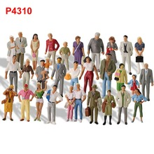 30pcs Different Poses Model Trains 1 43 O Scale All Standing Painted Figures Passengers People Model Railway P4310 cheap 14 years old Unisex Can not eat Plastic evemodel Model Figures Modern