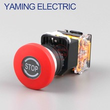 P91 Emergency Stop 10A 380V 22mm Self-Locking head power switch Mushroom Push Button Switch 1 NO 1 NC LA38-11ZS