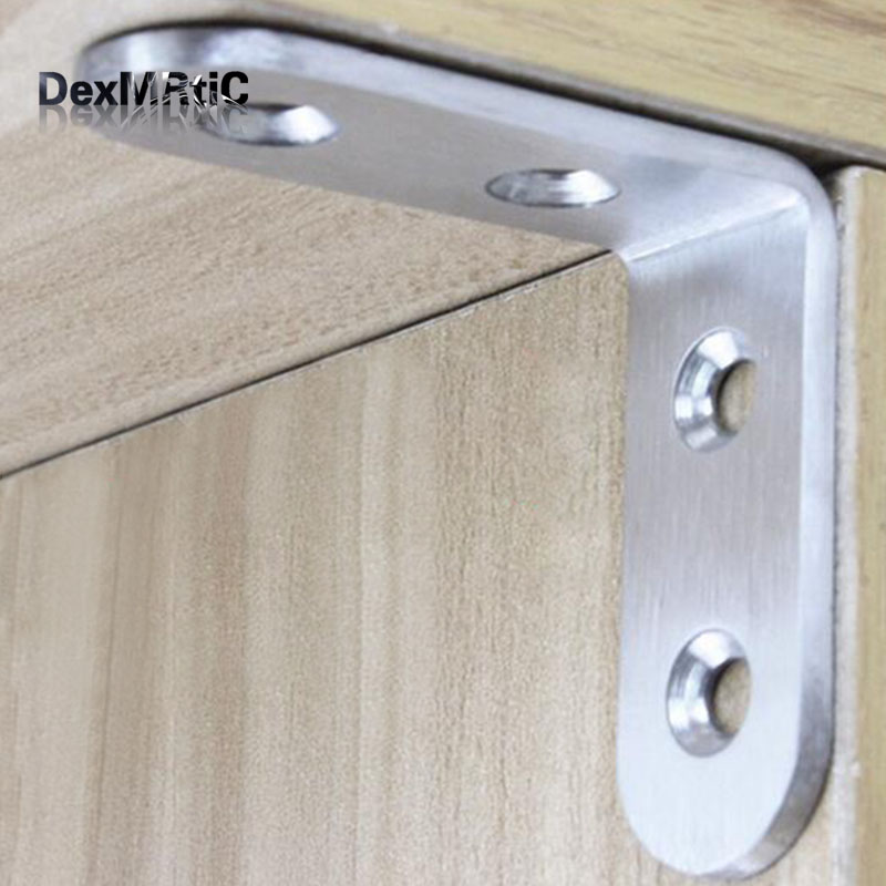 4pcs Stainless steel furniture Corner Brackets and Screws Furniture hardware fittings 90 degrees Connection accessories (50*50 2pcs set stainless steel 90 degree self closing cabinet closet door hinges home roomfurniture hardware accessories supply