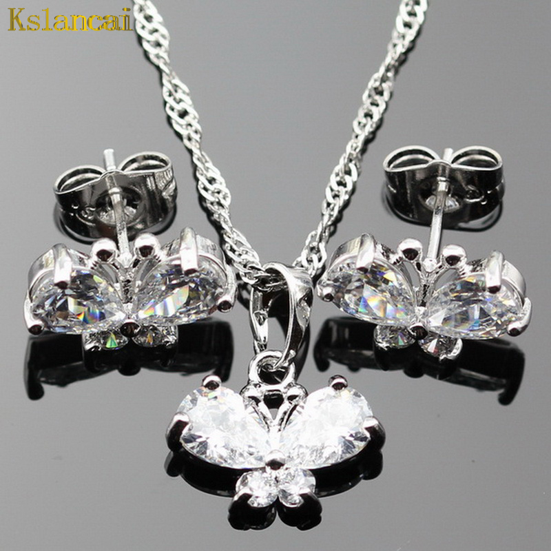Lan Hot-Selling Silver Planted Jewelry Sets White AAA Zirco Necklace Pendant Earring For Wedding/Birthday/Party Free Shipping