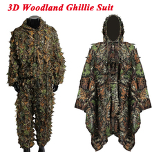 3D Woodland Ghillie Suit Linen Material Mens Camouflage Clothing Hunting Airsoft Sniper Hidden Shirt + Pants Military Cloak