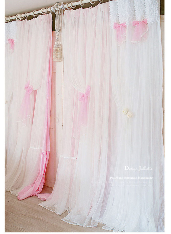 US $46.55 5% OFF|Princess white/pink curtain lace window curtains bedroom  living room window screening wedding decoration sweet valance cortinas-in  ...