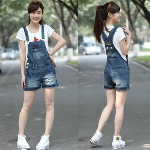 badaaf4500a 2014 summer Women Girl Fashion Jeans Denim Casual Lovely Blue Jumpsuit  Romper Overall Short Free shipping